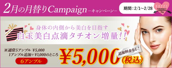 2月の月替りキャンペーンは白玉美白点滴!